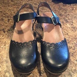 Dansko Marta Black Full Grain Leather Clog Sandals